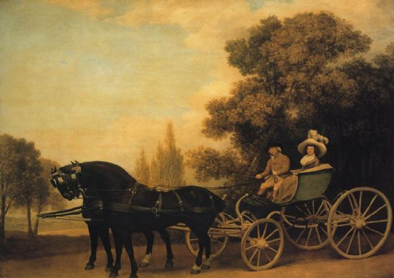 Stubbs, George: Gentleman Driving a Lady in a Phaeton. Fine Art Sports Print/Poster. Sizes: A4/A3/A2/A1 (001155)